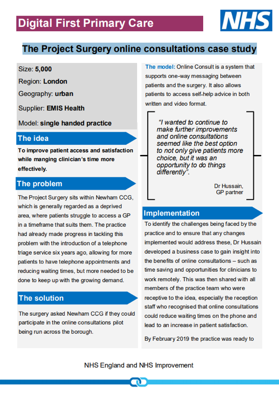 Digital First Primary Care: The Project Surgery online consultations case study